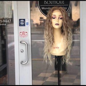 Long blonde curly wig sale 27/613 ombré Lacefront